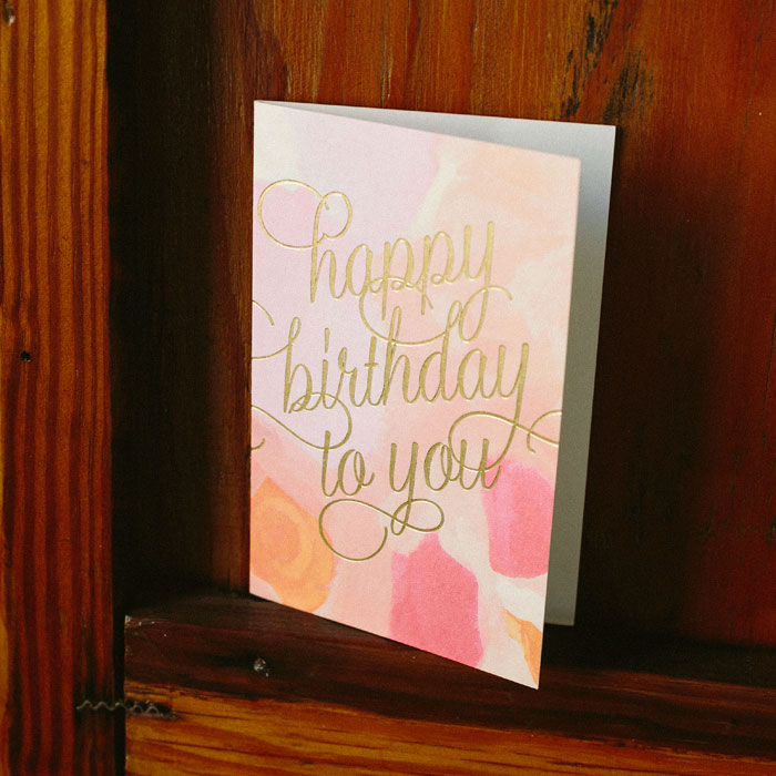 Gold foil stamped birthday cards from Smock