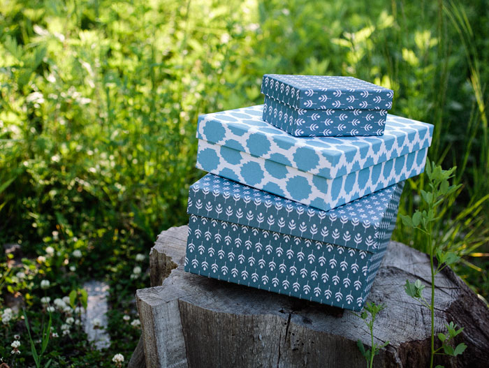 Denim blue keepsake gift boxes from Smock