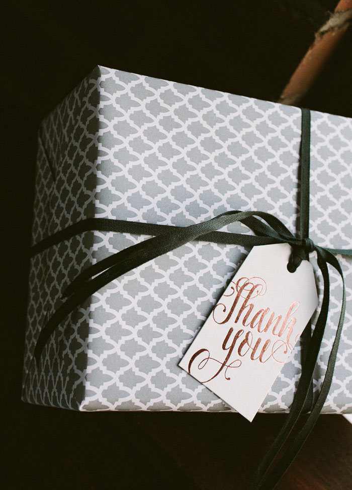 Rose gold die-cut gift tags from Smock + new gray wrapping paper