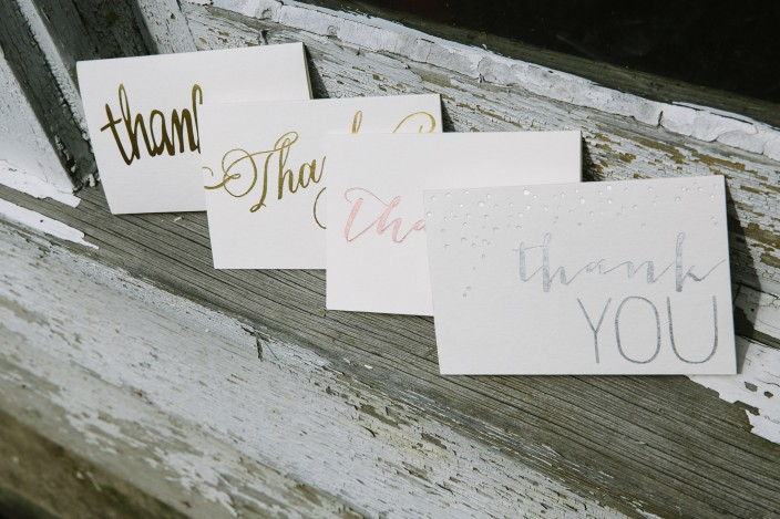 Foil stamped thank you notes from Smock