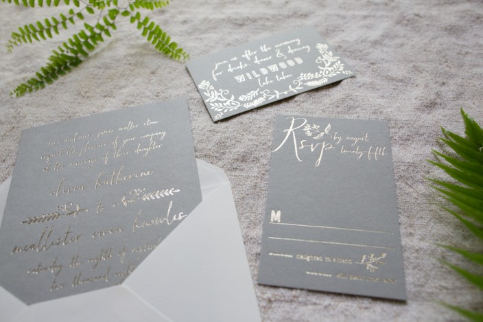 Greely garden style wedding invitations with tawny matte foil from Smock