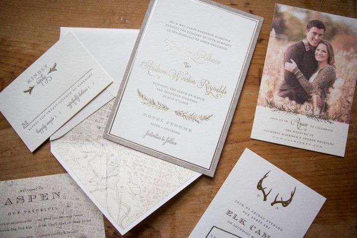 Rustic Haynes letterpress + foil stamped wedding invitation suite from Smock