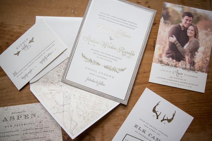 Rustic Haynes letterpress + foil stamped wedding invitation suite from Smock