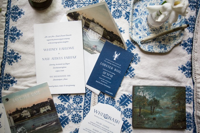 Nautical Prescott letterpress wedding invitations from Smock