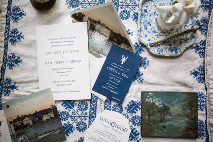 Nautical Prescott letterpress wedding invitations from Smock