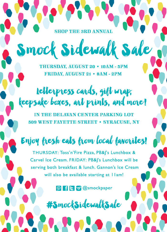 Shop the 3rd annual Smock Sidewalk Sale! August 20-21