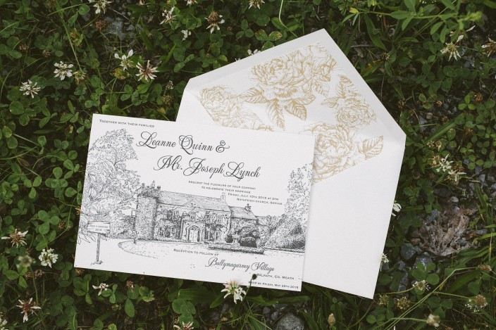 Custom letterpress wedding invitations by Appleberry Press, printed by Smock