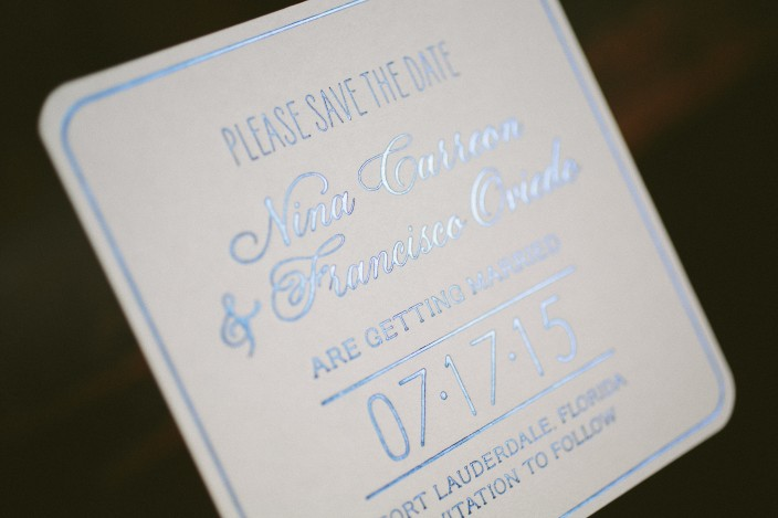 Blue foil coaster save the dates from Smock with watercolor envelope liners