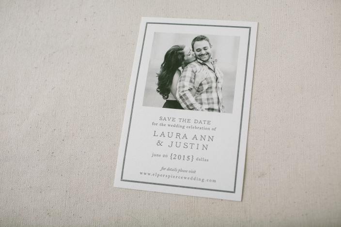 Black and white photo save the dates from Smock