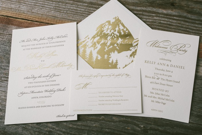 classic wedding invitations with gold foil envelope liners