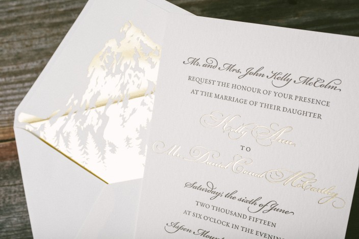 Gold foil stamped envelope liners featuring the Rocky Mountains
