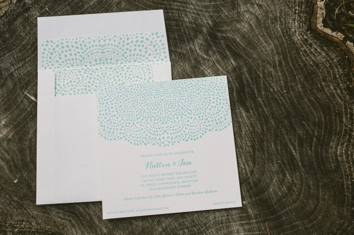Tiffany blue rehearsal dinner party invitations from Smock