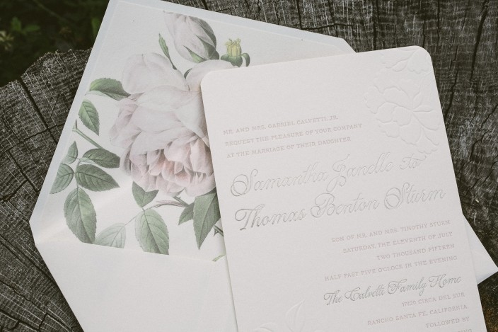 Floral letterpress wedding invitations from Smock