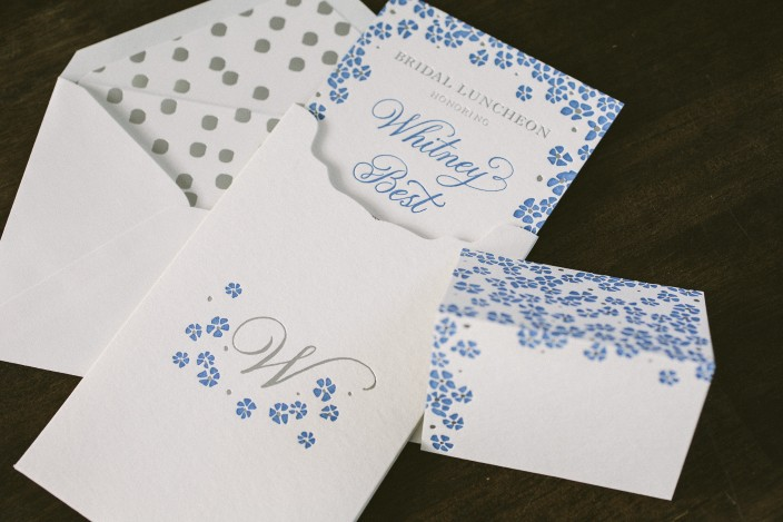 Letterpress + foil stamped floral bridal shower invitations from Smock