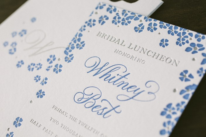 Blue bridal shower invitations with letterpress + foil stamping from Smock