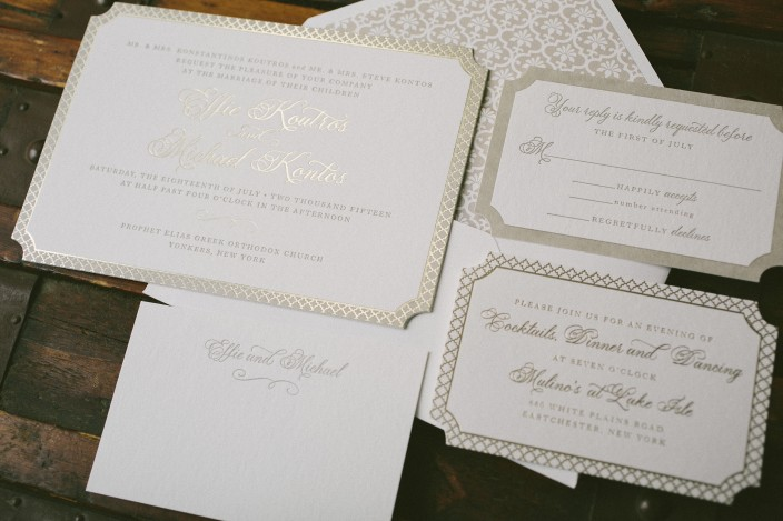 Elegant letterpress and foil stamped wedding invitations from Smock