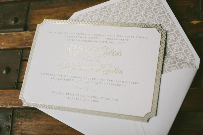 Elegant letterpress and foil stamped wedding invitations from Smock