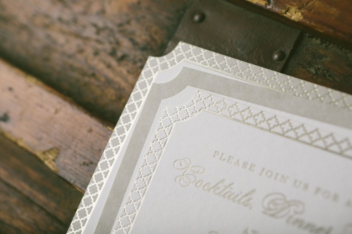 Custom letterpress and foil stamped wedding invitations from Smock