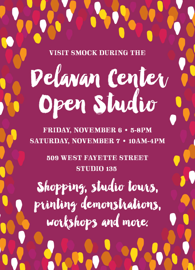 Visit Smock during the Delavan Center open studio on November 6-7