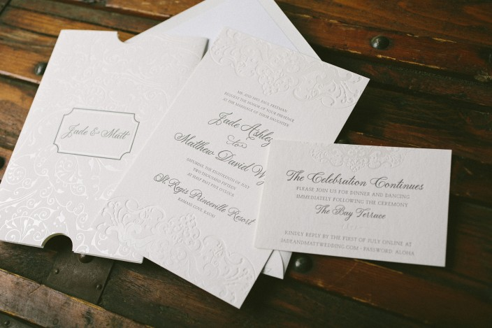 Pearl shine foil stamped wedding invitations and invitation sleeves from Smock
