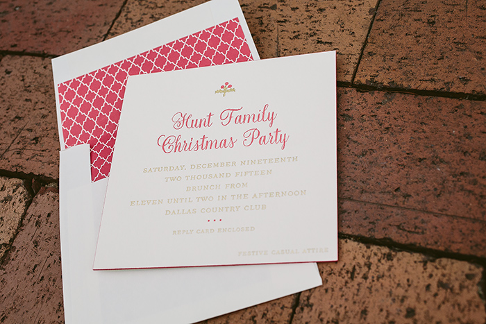 Hamilton letterpress Christmas party invitations from Smock