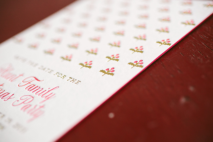 Hamilton letterpress Christmas party save the dates from Smock