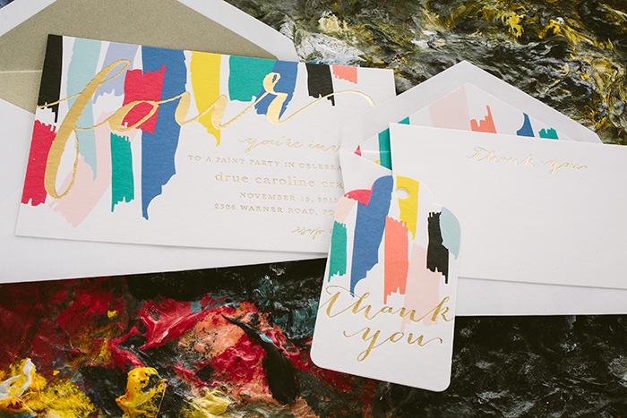 Custom painterly birthday party invitations from Smock