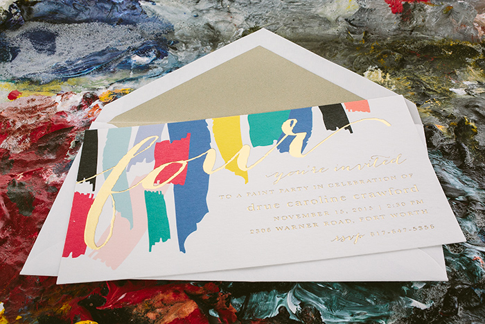 Custom painterly birthday party invitations from Smock