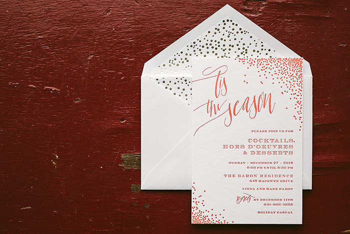 Holiday cocktail party invitations from Smock