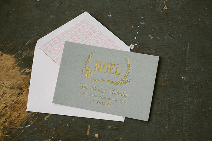 Custom gray + gold foil stamped holiday cards from Smock
