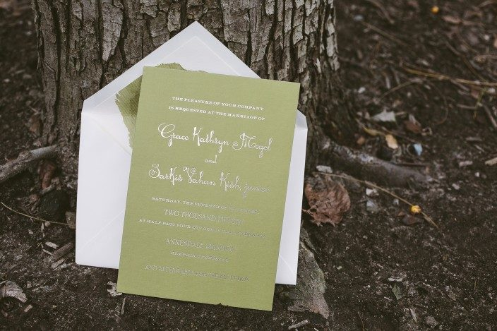 Digitally printed + foil stamped wedding invitations from Smock