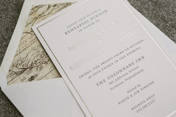 Haynes rehearsal dinner invitations from Smock