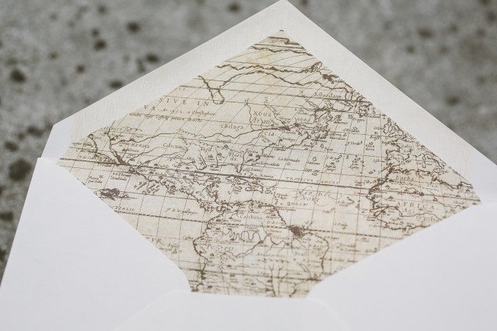 Vintage world map envelope liners
