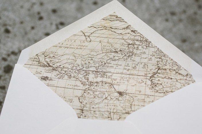 Vintage world map envelope liners