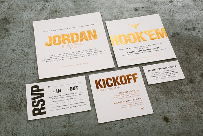 Texas Longhorns inspired Bar Mitzvah invitations designed by Simply Put and printed by Smock