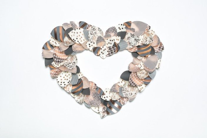Foil stamped heart-shaped wreath from Smock