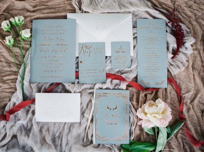 Copper foil Greely wedding invitations from Smock