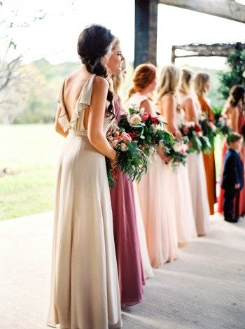 Neutral bridesmaids for a fall wedding