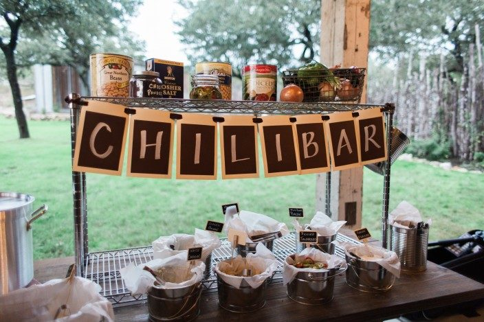 The Creek Haus wedding reception chili bar