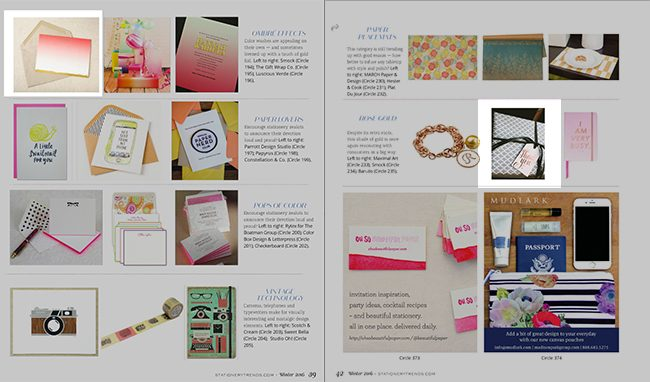 Smock cards + gift wrap featured in the  Stationery Trends winter 2016 issue