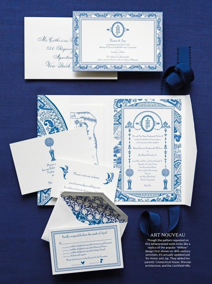 Custom chinoiserie inspired wedding invitations by Smock