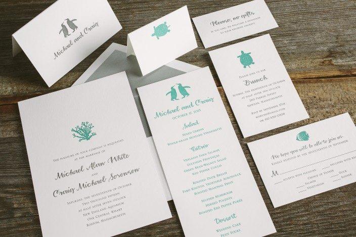 Custom aquarium inspired letterpress wedding invitations and programs by Smock
