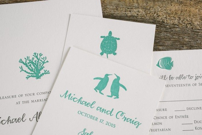Custom aquarium inspired letterpress wedding invitations and programs by Smock