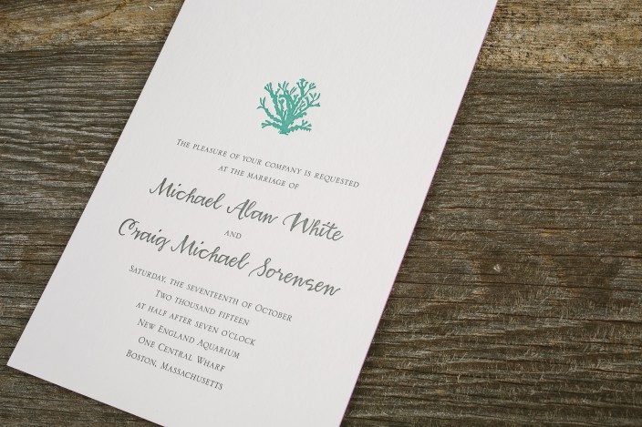 Custom Aquarium Inspired Letterpress Wedding Invitations And Programs By  Smock ...