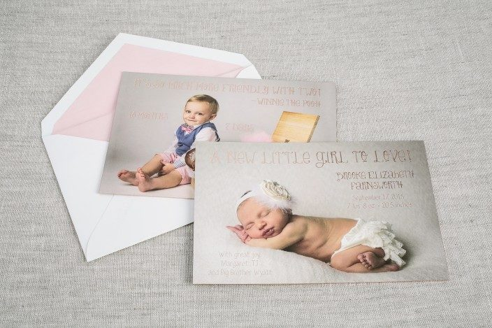 Rose gold birth announcements from Smock