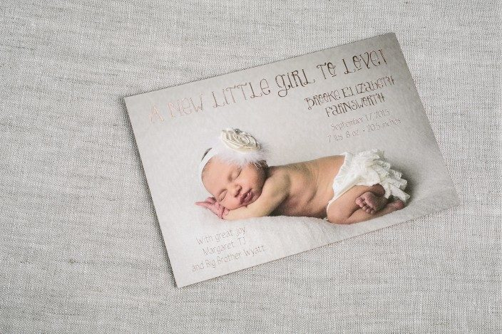 Custom rose gold foil birth announcements from Smock