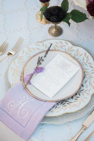 Monogrammed Napkins and letterpress + foil menus from Smock