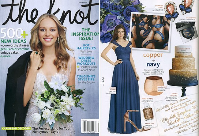 Smock's copper foil Donegal wedding invitations were recently featured by The Knot magazine