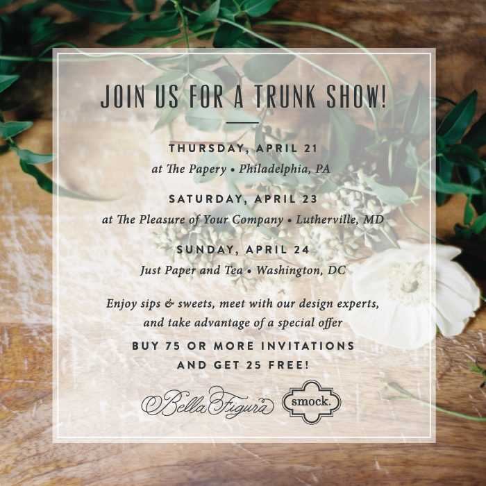 Smock + Bella Figura will be offering several trunk show events in April