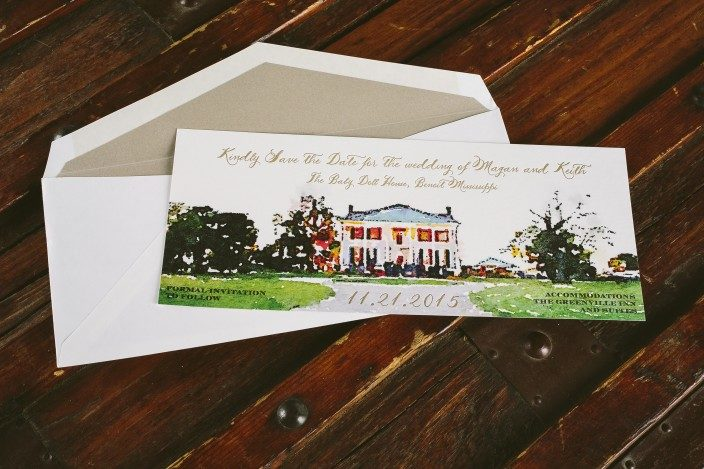 Custom save the dates featuring a watercolored take on the Baby Doll House in Mississippi